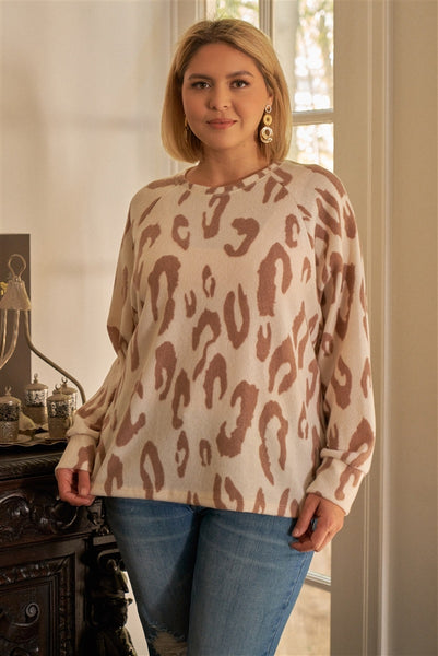Plus Ivory & Taupe Leopard Print Round Neck Long Sleeve Super Soft Sweatshirt