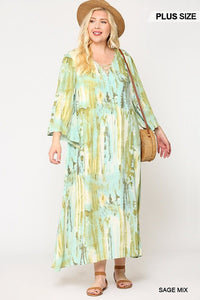 Tie Dye Multi Color Printed Maxi Dress With Lace Up