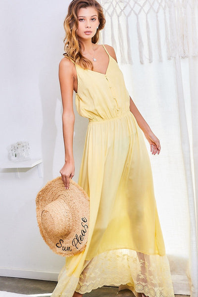 Taylor Button Down Waist Elastic Bottom Contrast Lace Maxi Dress