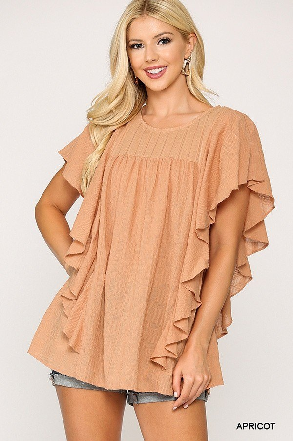 Textured Ruffle Sleeve Tunic Top With Back Keyhole