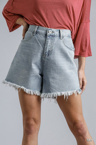 High Rise Denim Shorts With Raw Hem