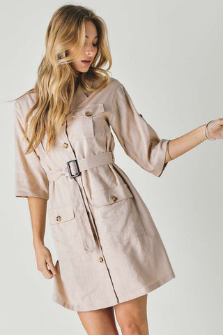 Drop Shoulder With Saist Tie Belted Dress