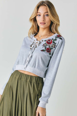 Floral Embroidered Cropped Sweatshirt