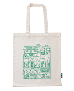 Käpylä bag with green print