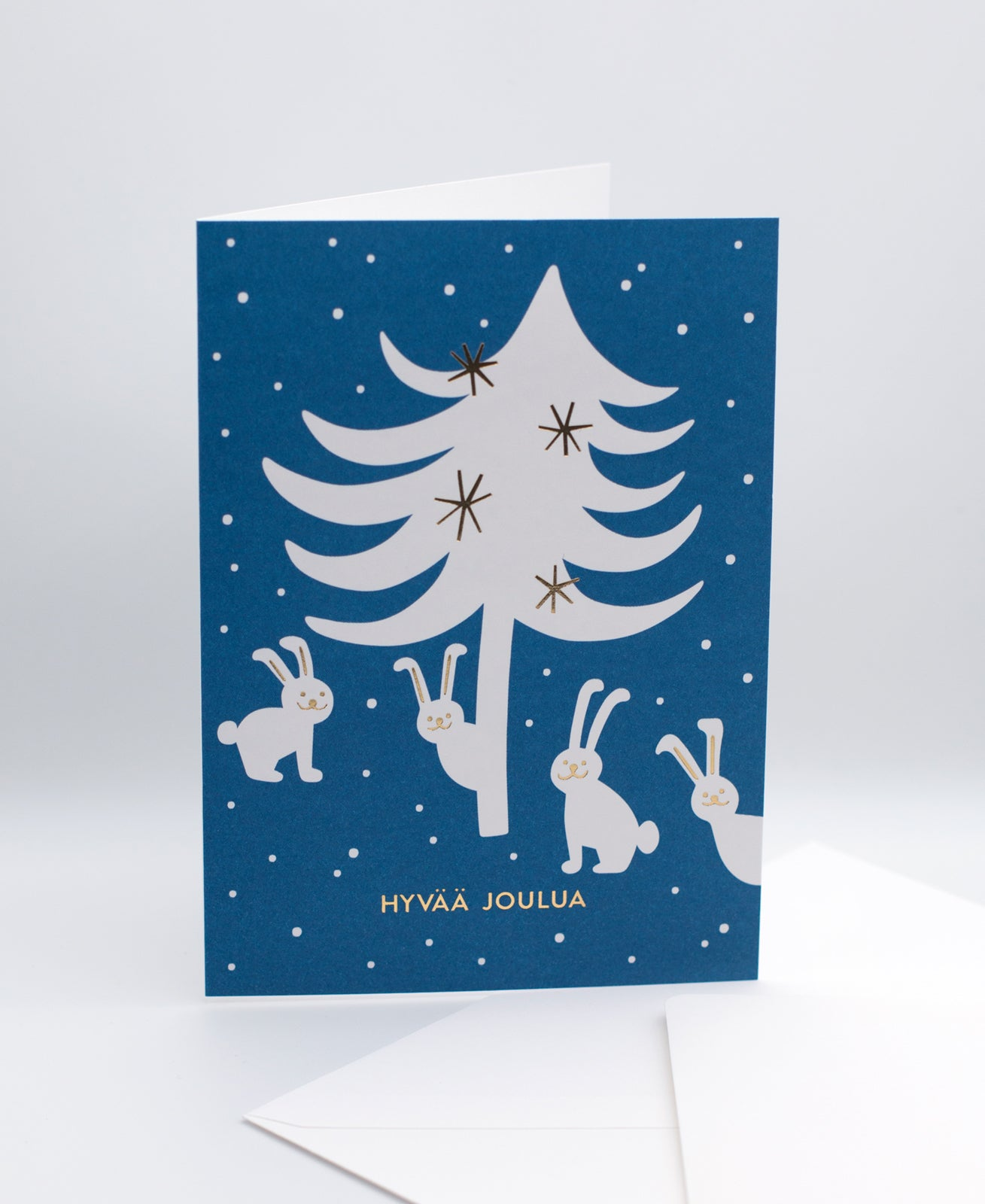 Joulujänikset greeting card and white envelope