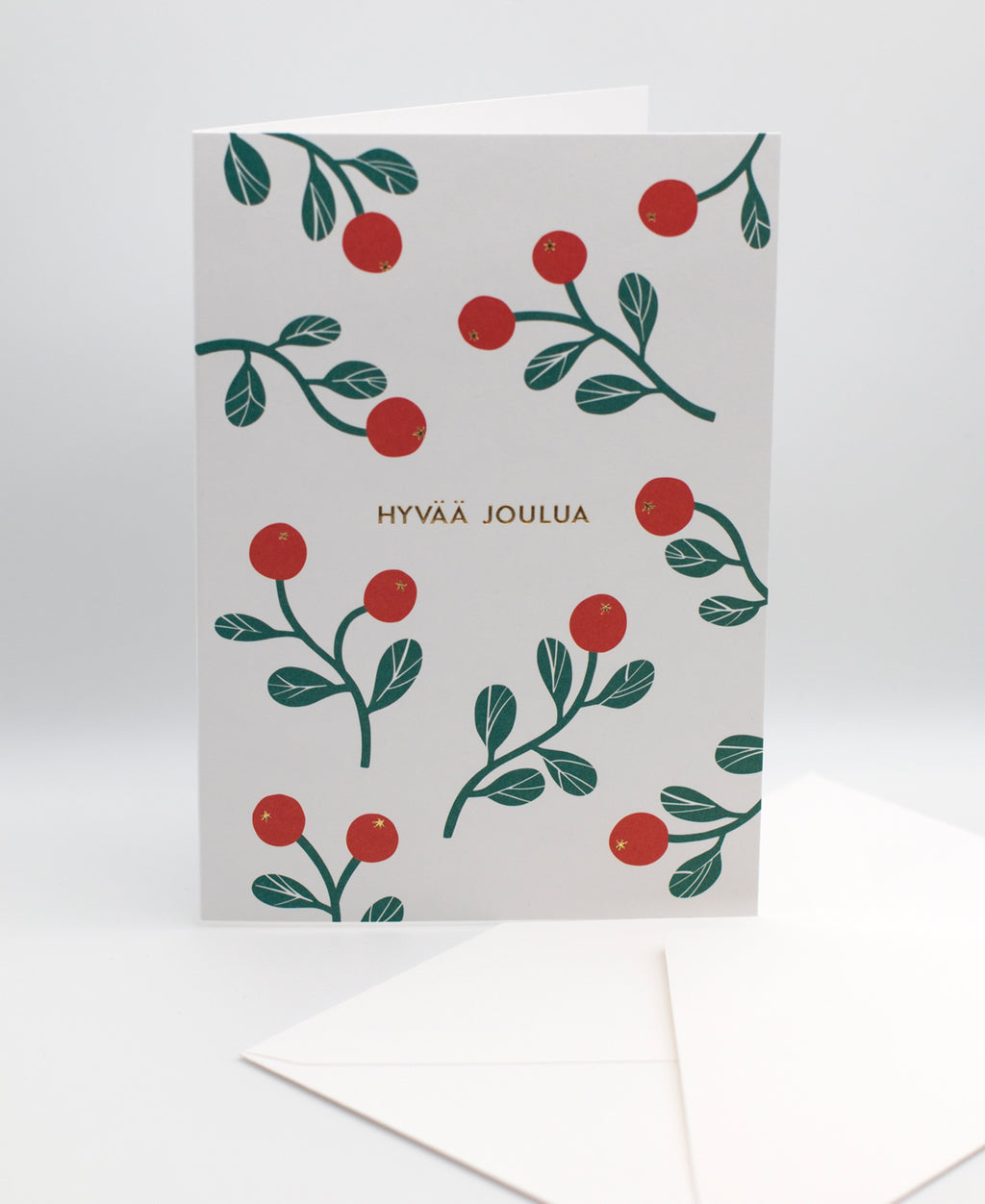 Puolukat greeting card and white envelope