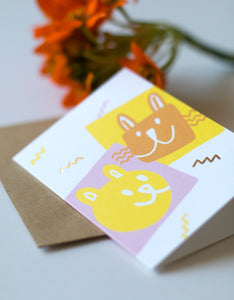 Kaverit mini greeting card and a flower