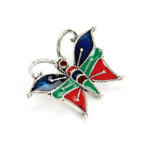 925 Silver Colorful Butterfly Charm Pendant DIY Accessories Parts - S@Ssons