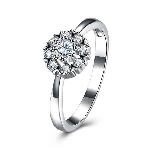 INALIS Women Wedding Ring 925 Sterling Silver Gemstone Flower Charm Anallergic Anniversary Gift - S@Ssons