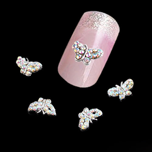 10Pcs 3D Embedded Rhinestone Butterfly DIY Nail Art Tip Glitter Decorations - S@Ssons