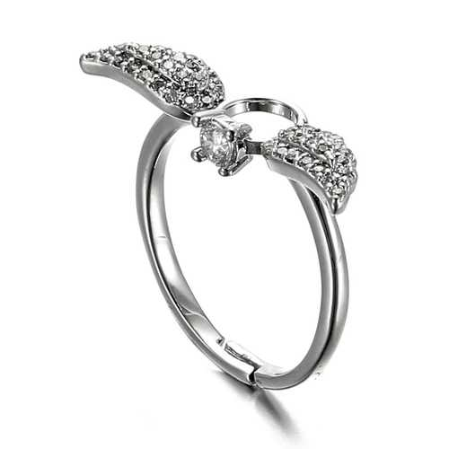 JASSY 925 Sterling Silver Zirconia Angel Adjustable Ring - S@Ssons