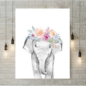 5D Diamond Painting - Elephant with floral wreath - S@Ssons
