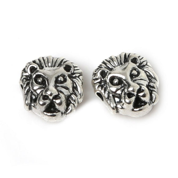 12mm 10pcs  Lion Leopard Head Beads Antique Silver Charms Pendant Beads For Jewelry Making Bracelet DIY Jewelry Findings (China)
