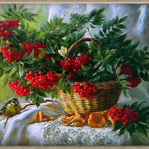 Red Fruits In A Basket Diamond Painting 5D DIY Decorative Wall Cross Stitch Kit - S@Ssons
