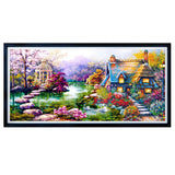 DIY 5D Diamond Mosaic Landscapes Garden Lodge Painting Cross Stitch Kit Decor - S@Ssons