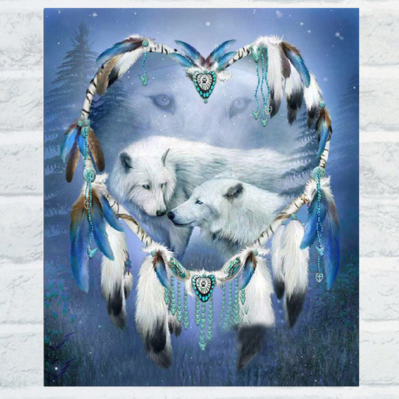 White Wolf Love Shiny Resin Diamond Painting Kit DIY Handmade Home Wall Decor - S@Ssons