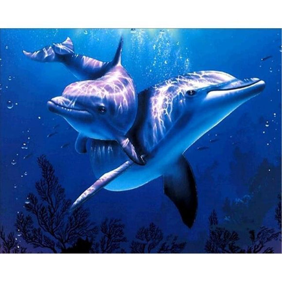 XXL - 5D Diamond Painting -  Dolphins