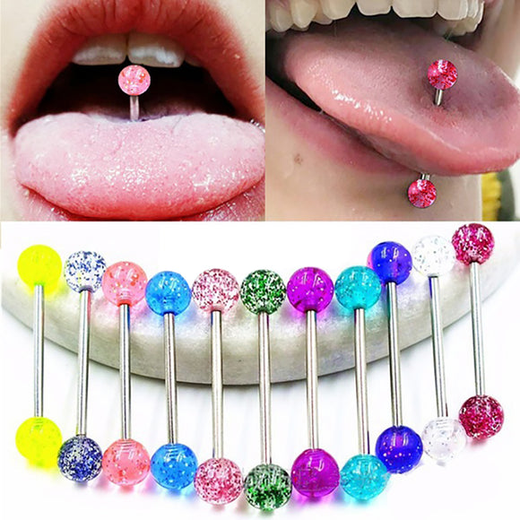 7/20Pcs Sequins Luminous Nipple Tongue Bar Barbell Ring Body Piercing Jewelry - S@Ssons