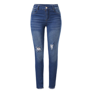 Women Denim Cotton Full Length Elastic jeans Tone Pencil Pants - S@Ssons
