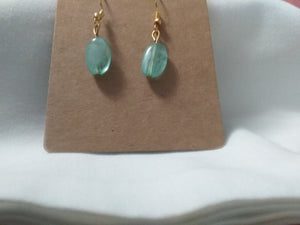 Handmade earrings blue stone dangle