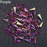 10Pcs Women Triangle Nail Art Tip Shiny Rhinestone DIY Decoration Manicure Kit - S@Ssons