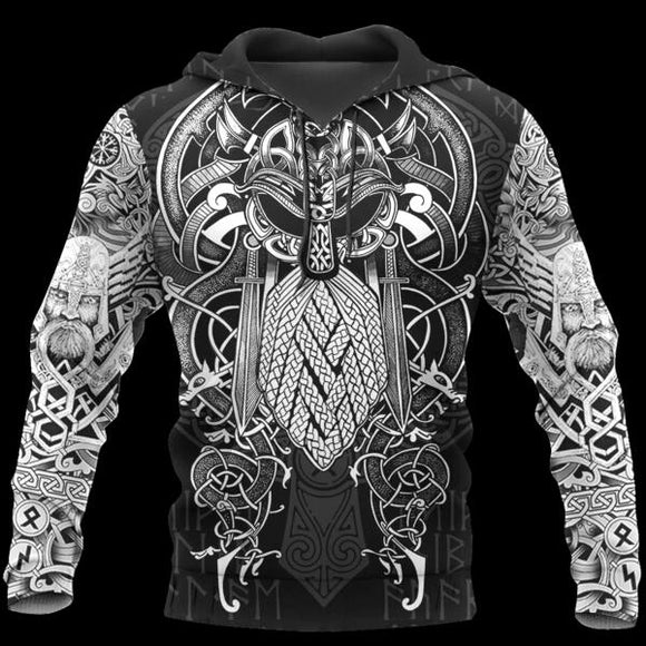 Viking Odin Best Viking Tattoo 3D Hoodies Men/women Hipster Streetwear Outfit
