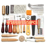 4/13/18/37/58PCS Leather DIY Tools Hand Stitch Yarn Shears Scribing Wheel Automatic Belt Punch Leather Crafts Hand Tool Kit