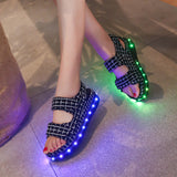 Summer Fashion LED Flash Colorful Flats Sandals Open Toe Platform Sandals Shoes Women Casual Shoes Ladies Beach Shoes