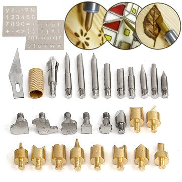 28Pcs Wood Burning Soldering Solder Tips Kit Tool With 2Pcs Stencils