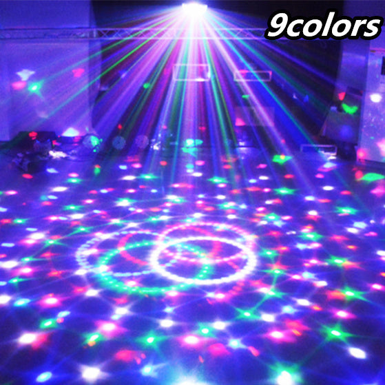 9 Colors 27W Crystal Magic Ball Led Stage Lamp 21 Mode Disco laser-beam Light Party Lights Sound Control DMX Lumiere laser-beam - S@Ssons