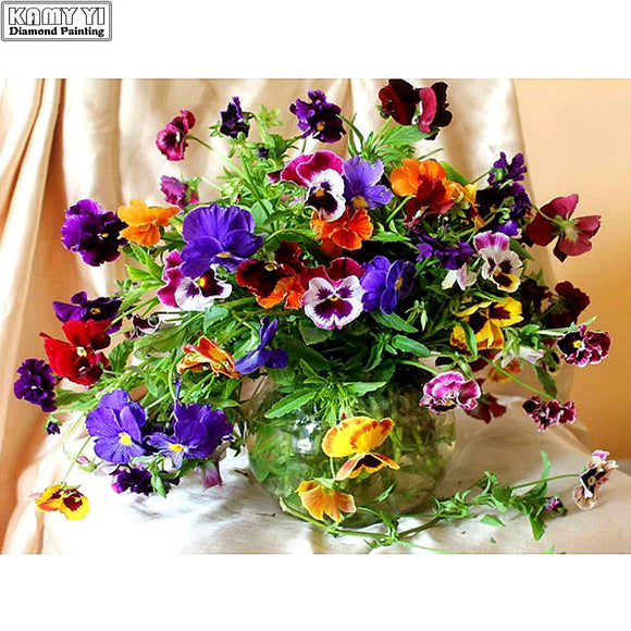 5D Diamond mosaic diamond embroiderye Colorful flowers and vases mbroidered Cross Stitch Home decoration Gift