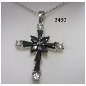 "Rhodium Plated Cross Pendant with Black CZ on 18"" Chain in a Gift Box - S@Ssons"