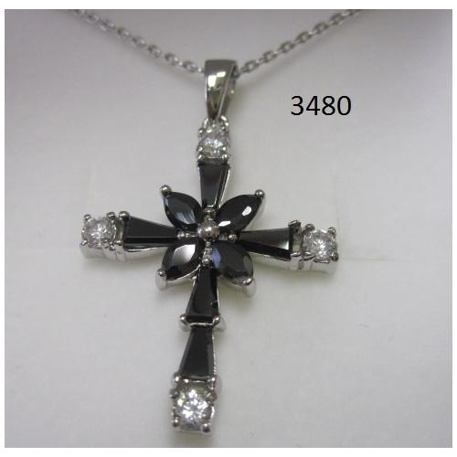 Rhodium Plated Cross Pendant with Black CZ on 18