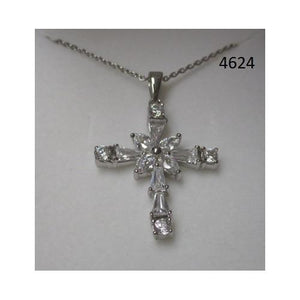 "Rhodium Plated Cross Pendant with CZ on 18"" Chain in a Gift Box - S@Ssons"