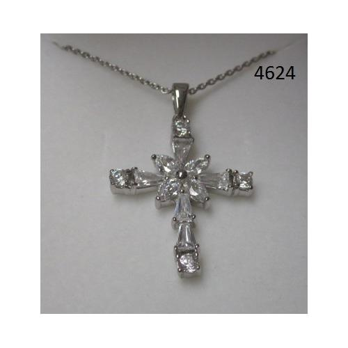 Rhodium Plated Cross Pendant with CZ on 18