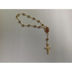 "Gold Electroplated 6 mm 7 1/2"" Rosary Bracelet in a Red Pouch - S@Ssons"