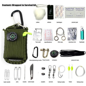 29 in 1 SOS Emergency Equipment bag field survival box self-help for Camping Hiking saw/fire