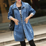 Denim Jacket Women Coats And Jackets Boyfriend Ripped Jean Jacket Ladies Casual Biker Long Jeans Coats Outdoor Chaqueta Mujer - S@Ssons