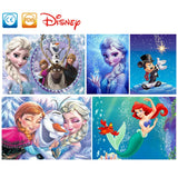 Disney Round Diamond Painting 5D Diamond Embroidery Mosaic Cross Stitch Winter Home Decor Gift