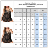 5XL Plus Size Babydoll Lingerie Femme Sexy Lace Floral Underwear Women Erotic Transparent Lingerie With G-string Porno Sleepwear