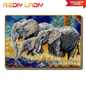 Latch Hook Rug Kits Elephant Family Crocheting Carpet Rug 100% Acrylic Yarn Cushion Mat DIY Carpet Rug Home Decor Arts & Crafts
