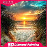 "MEIAN ""Sunset beach scenery"" Dispaint Full Square/Round Drill 5D DIY Diamond Painting Embroidery Cross Stitch 5D Home Decor - S@Ssons"