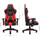 Recliner Backrest Swivel Gaming Chairs PU Leather with Headrest and Lumbar - S@Ssons