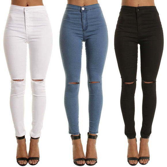High Waist Casual Skinny Jeans For Women Hole Vintage Girls Slim Ripped Denim Pencil Pants High Elasticity Black Blue