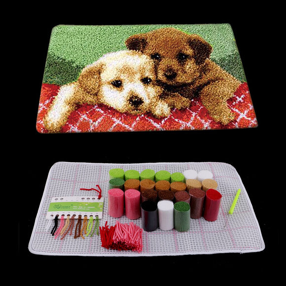 Puppies and wolves DIY Latch Hook Kit Carpet Rug Making Kit 50 x 30 cm - S@Ssons