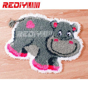 3D Latch Hook Rug Kits DIY Needlework Unfinished Crocheting Rug Yarn Cushion Mat  Happy Hippo Embroidery Carpet Rug Needlework