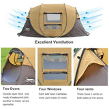Desert&Fox Automatic Pop-up Tent, 3-4 Person Outdoor Instant Setup Tent 4 Season Waterproof Tent for Hiking, Camping, Travelling - S@Ssons