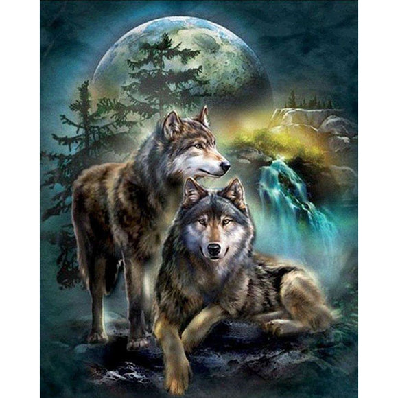 5D Diamond Painting Full Square Animal Diamond Embroidery Rhinestones Pictures Diamond Mosaic Moon Wolf