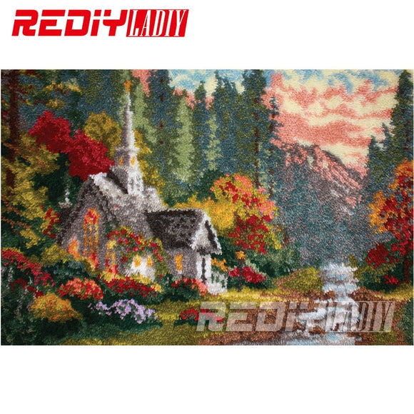 Latch Hook Rug Crocheting Tapestry Pre-printed Canvas Autumn Cottage Cushion Kits for Embroidery Home Carpet Diy Handicraft Gift