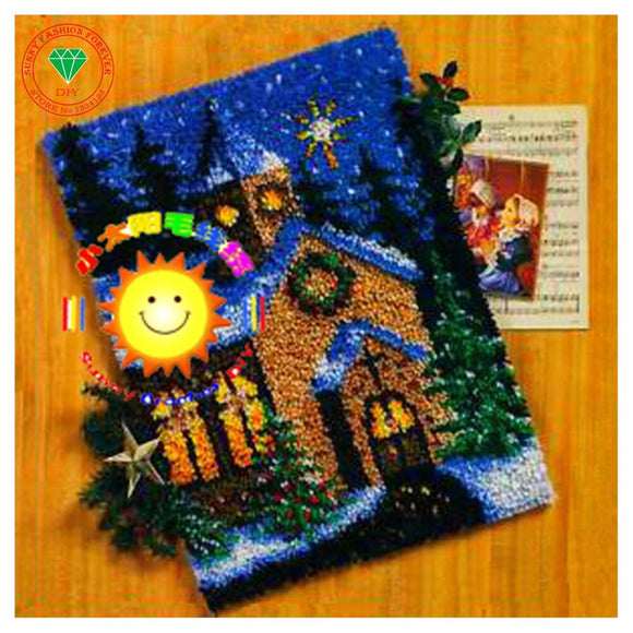 Needlework Unfinished Crocheting Rug Yarn Cushion Embroidery Carpet DIY Mat Needlework Kit Latch Hook Rug Kit Landscape House - S@Ssons